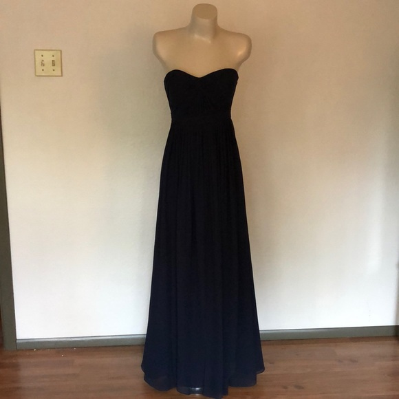 Jenny Yoo Dresses & Skirts - Navy strapless chiffon floor length dress